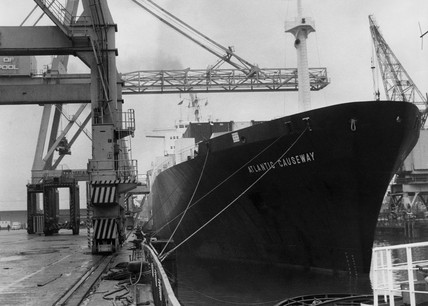 'Atlantic Causeway' moored at a dock, 11 December 1969.