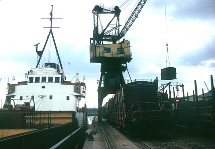 Ships along quay, Rotterdam, Netherlands, July 1962.
