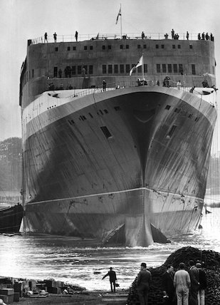 'Queen Elizabeth II' shortly after launch, Clydebank, 20 Spetember 1967.