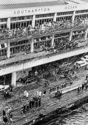 Crowds and streamers at Southampton Docks, 27 September 1967.