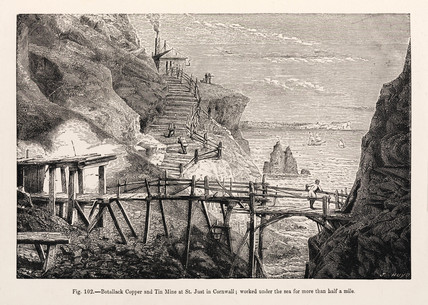 'Botallack Copper and Tin Mine at St Just in Cornwall', 1869.