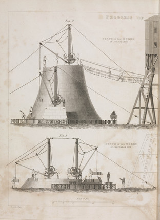 Construction of the Bell Rock Lighthouse, 1808-1809.