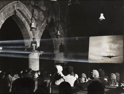 Film show in a church, 1941.