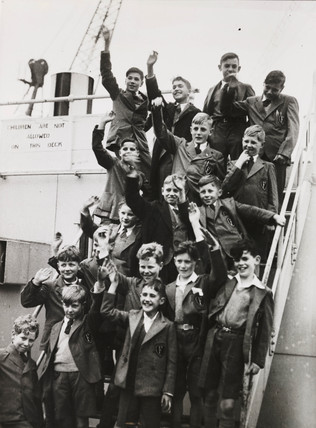 British boys on their way to Rhodesia, 1946.