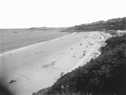 Porthminster Beach at St Ives, Cornwall, c 1920.