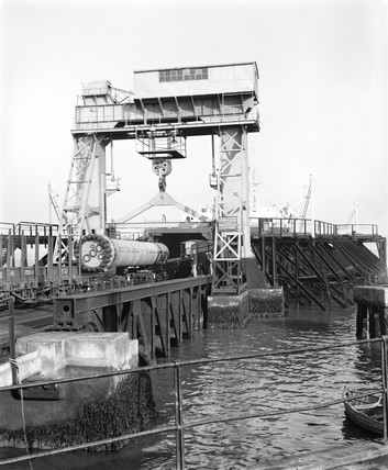 Loading the 'Cambridge' ferry, 23 July 1966.