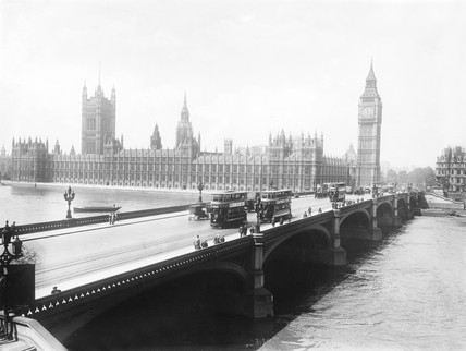Houses of Parliament from outside County Hall, London, c 1921.