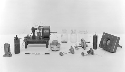 Hughes microphones and apparatus, c 1880s.