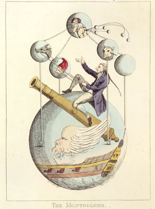 'The Montgolfier - A First Rate of the French aerial Navy', 1783.