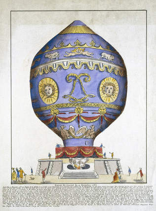 The first manned free flight ascent in a balloon, 21 November 1783.
