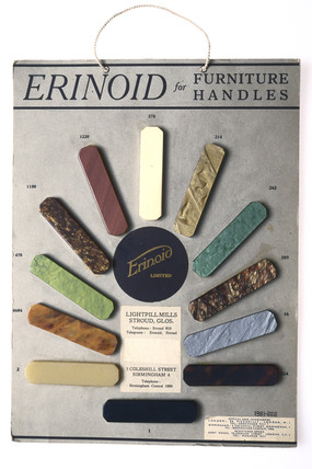 Display card of samples of 'Erinoid' plastic, c 1930s.