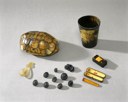 Personal accesories made mostly from natural plastics, c 1850-1960.