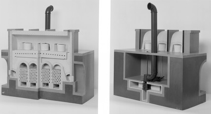 Model of Siemens regenerative furnace for glas melting.