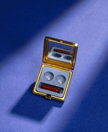 Early 'micro corneal' acrylic plastic contact lenses and case, 1964.