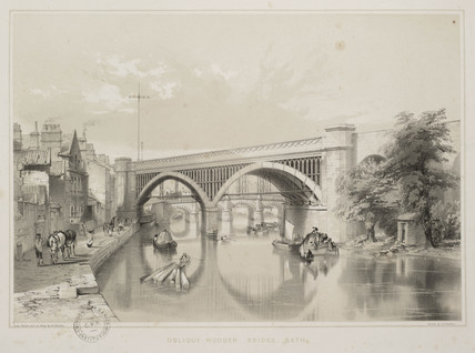 Railway bridge in Bath, 1845