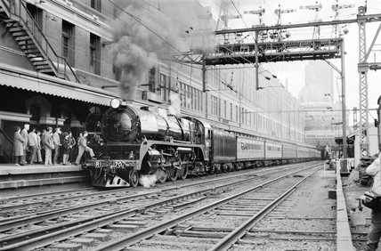 Locomotive at Flinders Street Station, Melbourne, Australia, 1970.