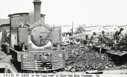 A 2-6-2 tank engine at Freetown, Sierra Leone, 1941.