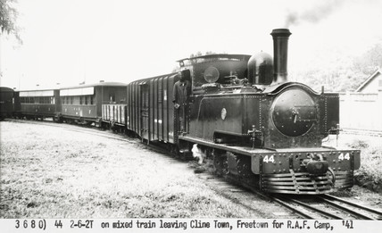 A 2-6-2 tank engine at Freetown, Sierra Leone, 1941