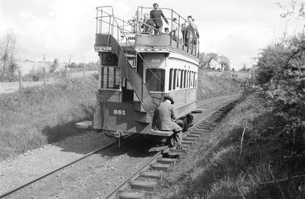 Horse-drawn tram, Fintona, County Tyrone, Ireland, 1950.