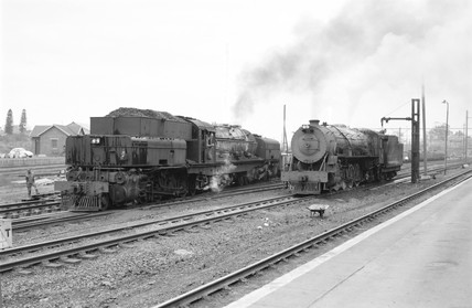 Locomotives number 2351 and 2070, South Africa, 1968.