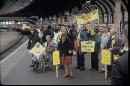 Political protesters, York Station, 1991.
