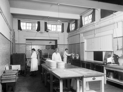 Kitchen at the Shildon works, County Durham, c 1945.