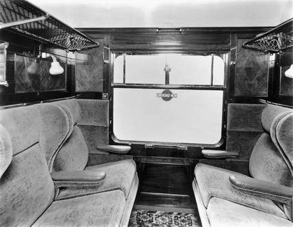 Interior of 1st Class coach compartment, 20 February 1934.