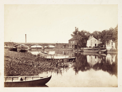 Boats on a river, c 1855.