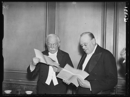 Lloyd George and Winston Churchill at the Printer's Pension Fund Dinner, 17 December 1934.