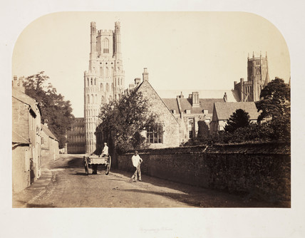 'Ely Cathedral from the Grammar School', c 1857.