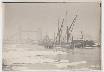 Ships on the Thames, ice and Tower Bridge, c 1894.