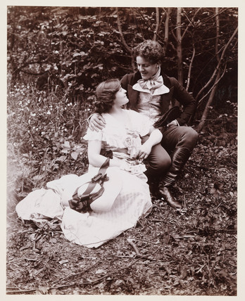 Edwardian portrait, couple in 19th-century dress.