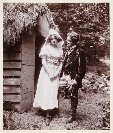 Edwardian portrait, couple in period costume.