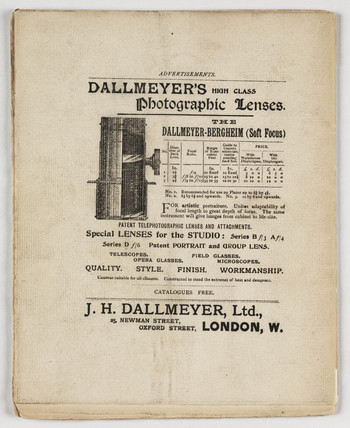 Advertisement for Dallmeyer's lenses, 1896.