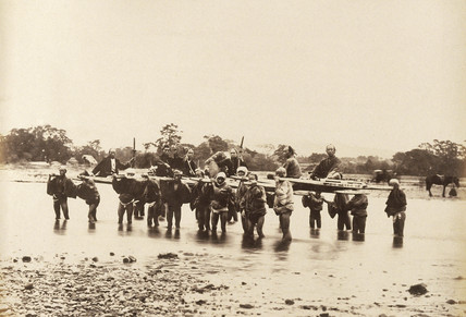 River crossing at Hakoni (Hakone) Lake, c.1877.