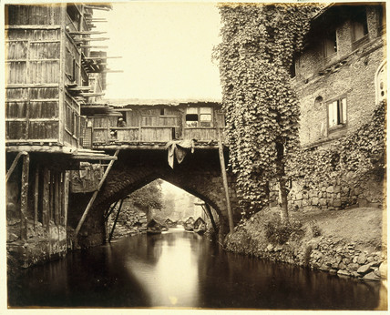 Bridge over the Marqual Canal, Kashmir, c 1865.