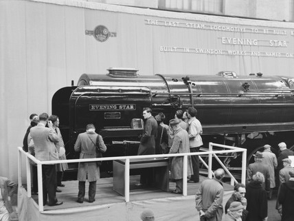 Naming the steam locomotive, 'Evening Star', 1960.