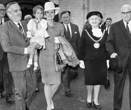 Prince Rainier and Princess Grace with the Lady Mayoress, Liverpool, 1967.