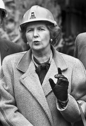 Margaret Thatcher wearing a hard hat, March 1987.