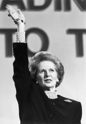 Margaret Thatcher at the Tory Party Conference, Scarborough, March 1989.