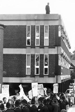 Socialists protesting over the visit of Margaret Thatcher, 22 May 1987.