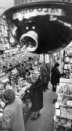 Anti-shoplifting camera in a chemist's shop, December 1968.