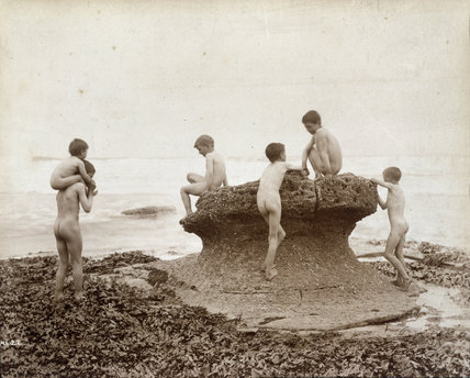 Boys bathing, c. 1889.