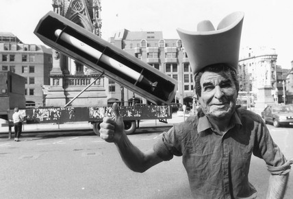 'Ronald Reagan' with Cruise missile, Albert Square, Manchester, 1984.