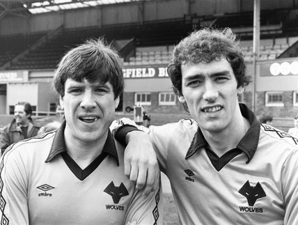 Emlyn Hughes and a fellow Wolves player, 1981.