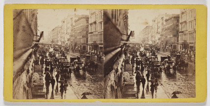 'Broadway on a Rainy Day, New York', c 1860.