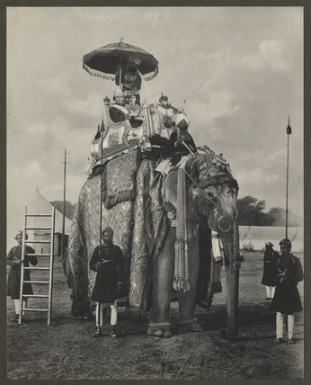 'Lord and Lady Curzon on an Elephant', c. 1895.