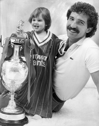 Graeme Souness with son Fraser, May 1983.