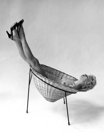 'Nude Reclining in Basket Chair', 3 May 1955.