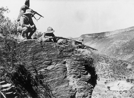 Italian snipers in position for advance on Makale, 10 November 1935.